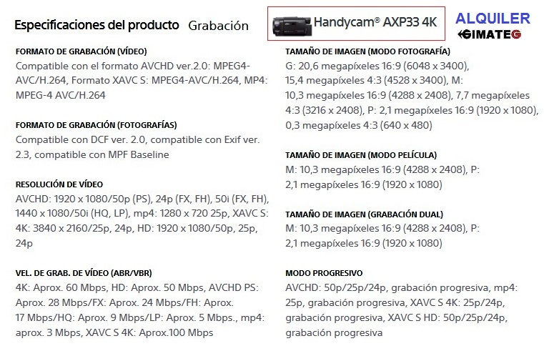 caracteristicas video HD y 4K sony alquiler gimateg