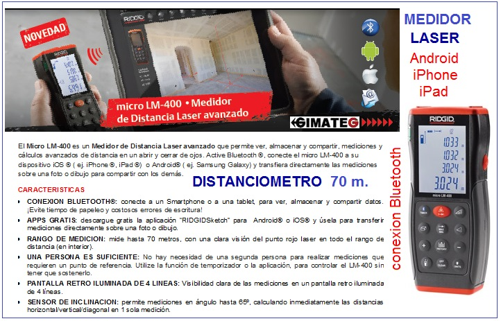 medidor distancia y angulos bluetooth a MOVIL Ridgid gimateg